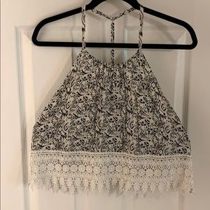 LF Black and White Open Back Tank Top